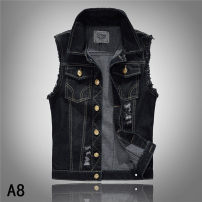 Vest / vest Fashion City Others black Other leisure Self cultivation Vest routine Four seasons Lapel youth 2016 tide other Single breasted Slant hem cotton washing Rough edge Denim Digging bags with lids 90% (inclusive) - 95% (inclusive)