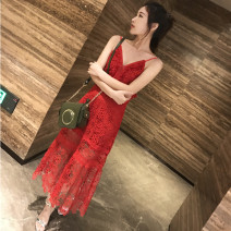 Dress Summer 2020 claret S,M,L longuette singleton  Sleeveless commute V-neck High waist Solid color Socket A-line skirt routine camisole 25-29 years old Type A Immortal dust Retro More than 95% Lace other