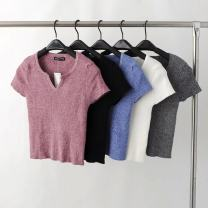 sweater Spring 2021 S, M White, gray, black, pink, blue Short sleeve Socket singleton  have cash less than that is registered in the accounts other 95% and above V-neck Regular street routine Solid color Self cultivation