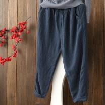 Casual pants Summer 2021 Ninth pants Haren pants Natural waist commute routine 81% (inclusive) - 90% (inclusive) Other / other hemp literature pocket cotton