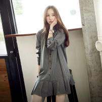 Dress Autumn of 2019 Picture color S,M,L,XL Short skirt singleton  Long sleeves commute other middle-waisted stripe Socket other routine Others 18-24 years old Type A Korean version 30% and below other cotton