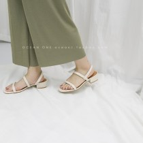Sandals 35 36 37 38 39 40 Black apricot Beige Other / other PU Barefoot Thick heel Middle heel (3-5cm) Summer of 2018 Trochanter Simplicity Solid color Adhesive shoes Youth (18-40 years old) Composite bottom daily Back space Thick heel Low Gang Hollow PU PU Shaving