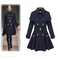 woolen coat Autumn of 2019 XS,S,M,L,XL,2XL Navy, camel, (collection and shopping cart priority) polyester 95% and above Medium length Long sleeves street double-breasted routine Polo collar Solid color Cape type 25-29 years old Pocket, tridimensional decoration, epaulets, buttons Solid color nylon