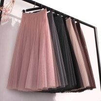 skirt Summer of 2018 Average size Medium grey champagne lotus root Pink Black apricot coffee dark grey longuette Versatile High waist Fairy Dress Solid color Type A 18-24 years old other other