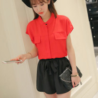 Lace / Chiffon Spring of 2019 Red and white Short sleeve commute Cardigan singleton  Regular stand collar Solid color other 25-29 years old Caidaifei Polyester 100%