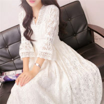 Dress Summer of 2018 Picture color (white sling inside) S,M,L longuette singleton  three quarter sleeve commute V-neck middle-waisted Solid color Socket Big swing Princess sleeve straps 18-24 years old Type A Retro Bows, lace 51% (inclusive) - 70% (inclusive) Lace