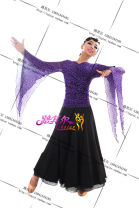Modern dance suit (including performance clothes) Riksier  waltz Top (genuine lucher), dance skirt (take note of height size), customized other color suit (no return, no change), picture color suit Average size