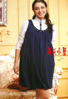 Dress Kissbb navy blue M,L,XL leisure time Long sleeves routine winter High collar stripe Pure cotton (95% and above)