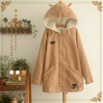 woolen coat Winter 2020 S,M,L Khaki, safranine, safranine embroidered with velvet, khaki embroidered with velvet other 81% (inclusive) - 90% (inclusive) Medium length Long sleeves Sweet zipper routine Hood Solid color Straight cylinder 21719S 18-24 years old Pocket, button, zipper Solid color