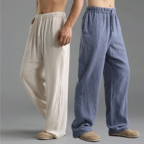 Casual pants Mafan cloth clothes Youth fashion other M,L,XL thin trousers Home Straight cylinder No bullet Thin cotton and linen trousers summer middle age Chinese style 2017 middle-waisted Straight cylinder Flax 55% cotton 45% Sports pants pocket fold Solid color plain cloth hemp Cotton and hemp