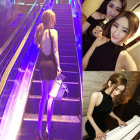 Dress Summer 2016 black S,M,L Short skirt singleton  Sleeveless commute middle-waisted Solid color Socket One pace skirt Others Korean version backless