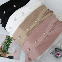 Wool knitwear Summer 2017 Average size White, black, pink, khaki Long sleeves singleton  Cardigan other 30% and below Regular Thin money commute easy V-neck Bat sleeve Solid color Single breasted Korean version Bright silk, button
