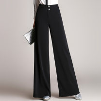 Casual pants black 2XL,XL,L,4XL,M,3XL,S Autumn 2016 trousers Wide leg pants High waist commute routine 25-29 years old 91% (inclusive) - 95% (inclusive) XAS16C8205 Xiangaisha other Ol style Three dimensional cutting