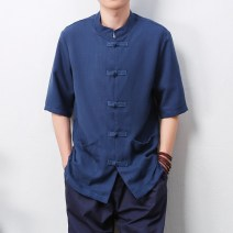 shirt Youth fashion Others M,L,XL,2XL,3XL,4XL,5XL Light gray, light blue, Navy, lake blue, beige Thin money stand collar Short sleeve easy Other leisure summer youth Chinese style 2016 Solid color Linen washing hemp Button decoration