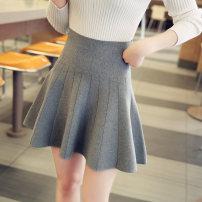 skirt Autumn 2016 S M L XL Short skirt Versatile High waist A-line skirt Solid color Type A More than 95% knitting Jian Ji other Other 100% Pure e-commerce (online only)