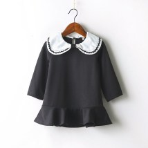 Dress black Other / other female 100cm 110cm 120cm 130cm 140cm Other 100% spring and autumn Korean version Long sleeves other cotton Lotus leaf edge LL2068 Class B