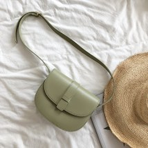 Bag The single shoulder bag PU Saddle bag Other / other Apricot large light green large gray large light green small apricot small tea mud small brown small brand new Japan and South Korea leisure time soft Cover type no Solid color Single root One shoulder cross nothing youth Saddle shape Sewing