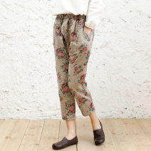 Casual pants Blue background, coffee background M, L Summer 2020 Ninth pants loose  Natural waist commute routine 51% (inclusive) - 70% (inclusive) Big flower pants hemp ethnic style printing and dyeing