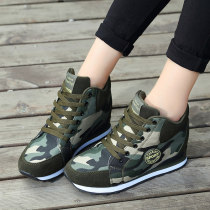 High shoes Internal elevation Army green Round head three hundred and forty-three billion five hundred and thirty-six million three hundred and seventy-three thousand eight hundred and thirty-nine Money cloth Cattle suede (frosted) High heel (5-8cm) Autumn 2016 Frenulum Youth (18-40 years old) cloth