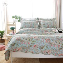 Bed cover cotton Other / other 230x250cm bed cover + 2 pillow case Plants and flowers Lilium formosana light green Lilium formosana light pink First Grade MBH18021801