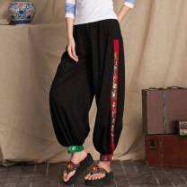 Casual pants Picture color Average size Spring 2021 trousers Wide leg pants Natural waist commute routine 30-34 years old 51% (inclusive) - 70% (inclusive) nothing hemp ethnic style Embroidery hemp Asymmetry
