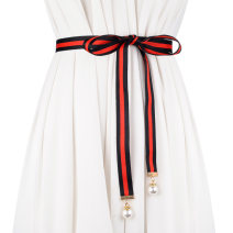 Belt / belt / chain canvas Red green stripe red blue stripe red black stripe female Waist chain Sweet Single loop Children, youth, middle age and old age Geometric pattern soft surface 1cm alone Cold weapon LBQO211 Spring and summer 2017 no