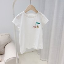 T-shirt white Other / other 90cm,100cm,110cm,120cm,130cm,140cm,150cm,160cm female summer Short sleeve Crew neck solar system No model nothing cotton Cartoon animation Cotton 95% other 5% 31H075 Class A other Chinese Mainland Hollowing out