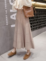 skirt Spring 2021 L 105-115, XL 115-125, s 85-95, m 95-105, 2XL 125-145 Grey length is about 84cm, black length is about 84cm, khaki length is about 84cm, coffee length is about 84cm longuette Versatile High waist A-line skirt Solid color Type A 25-29 years old LWS-8946 knitting Other / other other
