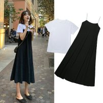 Dress T-shirt + suspender skirt two piece set M,L,XL,XXL Korean version Short sleeve have more cash than can be accounted for summer Crew neck Solid color