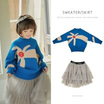 Sweater / sweater 80cm,90cm,100cm,110cm,120cm,130cm,140cm cotton female LD blue T-shirt, LD grey skirt Other / other Korean version There are models in the real shooting Socket routine Crew neck nothing Ordinary wool Cartoon animation