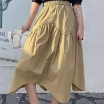 skirt Summer 2021 Average size Black, Khaki longuette street Natural waist Irregular Solid color Type A 25-29 years old 91% (inclusive) - 95% (inclusive) brocade cotton Button, pocket, print, lace up Europe and America