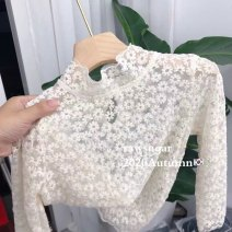 T-shirt Beige lace base, upload Buyer show package, send 18 pieces of hair accessories gift box 0-3 90cm,100cm,110cm,120cm,130cm,140cm,150cm female spring and autumn Long sleeves Crew neck Korean version There are models in the real shooting nothing cotton Solid color
