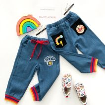 trousers Other / other male 90cm,100cm,110cm,120cm,130cm Rainbow thread jeans, striped teddy bear spring and autumn trousers leisure time No model Casual pants Leather belt middle-waisted cotton Open crotch