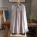 skirt Summer 2021 Average size White, light blue, light purple longuette commute Natural waist A-line skirt Solid color Type A 30-34 years old More than 95% knitting hemp Old, button Retro