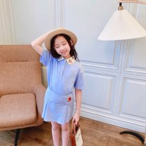 suit Other / other Elastic waist skirt, polo shirt, short sleeve top 90cm,100cm,110cm,120cm,130cm,140cm,150cm,160cm female stripe Wool Other 100% 7 years, 8 years, 12 months, 3 years, 6 years, 18 months, 2 years, 5 years, 4 years Chinese Mainland