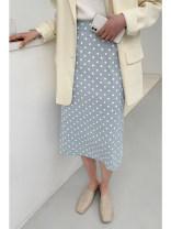 skirt Spring 2021 M, L Black, blue longuette commute High waist A-line skirt Dot Type H 932di Chiffon Other / other polyester fiber zipper