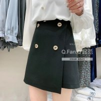 skirt Spring 2021 S,L,M,XL,2XL,3XL black Short skirt commute High waist A-line skirt Solid color Type A 25-29 years old 71% (inclusive) - 80% (inclusive) polyester fiber Button Simplicity