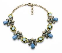 Necklace Alloy / silver / gold RMB 25-29.99 Kissme Grey blue brand new Europe and America female goods in stock yes Fresh out of the oven 21cm (inclusive) - 50cm (inclusive) no Below 10 cm Gold Plated inlaid artificial gem / semi gem alloy Plants and flowers Water wave chain xl00923