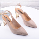 Sandals 34 35 36 37 38 39 Apricot 1815-1 love black 1815-1 love Other / other Suede Baotou Thick heel High heel (5-8cm) Summer of 2018 1815-1