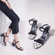 Sandals 35 36 37 38 39 White black Other / other Suede Barefoot Square heel Middle heel (3-5cm) Spring of 2018 Flat buckle Simplicity Wave point rubber daily Front and rear trip strap Color matching thick heel platform Low Gang Lateral space PU PU 04172039 Cool boots Frosting