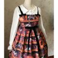 Dress Spring of 2018 brown Average size Short skirt singleton  Sweet One word collar High waist Animal design Princess Dress Type X Bow printing Lolita