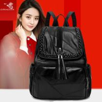 Backpack PU Fanke black brand new in zipper leisure time Double root Japan and South Korea soft youth yes Telescopic handle Solid color nothing female Water splashing prevention Vertical square Zipper pocket, mobile phone bag, certificate bag polyester fiber Color contrast yes 12 inches soft surface