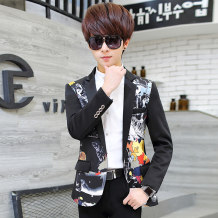 Suit Youth fashion Others Black 8827 trousers + Suit Black 8827 one piece suit 165/M 170/L 175/XL 180/2XL 185/3XL routine Back middle slit Flat lapel spring Self cultivation A single breasted button Other leisure youth tide Regular collar (collar width 7-9cm) Plants and flowers Back middle dark fold