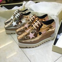 High shoes Muffin bottom Rose gold (New) mirror silver (New) Square head 34 35 36 37 38 39 Stella&Minx Sheepskin top layer leather High heel (5-8cm) Autumn 2016 Frenulum Youth (18-40 years old) Europe and America Composite bottom Sewing shoes Solid color Pohee muffin and waterproof platform Sheepskin