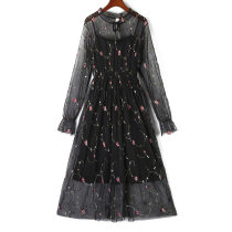 Dress Summer of 2018 A29 black mesh dress 2pc njyf b12m white mesh dress 2pc njyf K14 white mesh dress 2pc njyf S M L Mid length dress Two piece set