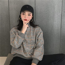 Sweater / sweater Autumn of 2018 Brown check grey check Average size Long sleeves Socket routine singleton  routine stand collar Straight cylinder commute routine lattice 18-24 years old Other / other Korean version