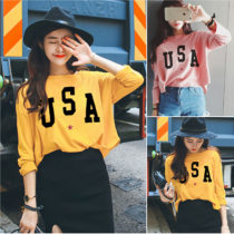 T-shirt Yellow pink Average size Fall 2017 Long sleeves Crew neck easy Regular routine commute other 86% (inclusive) -95% (inclusive) 18-24 years old Korean version youth