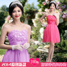Dress / evening wear Weddings, adulthood parties, company annual meetings, daily appointments L XL one size fits all Short orange pink short rose Korean version Short skirt middle-waisted Spring of 2018 Skirt hem Chest type zipper Chemical fiber Chiffon 18-25 years old Sleeveless flower Solid color