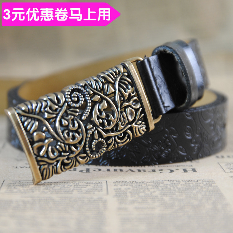 Belt / belt / chain Double skin leather Brown yellow black red brown big red dark brown female belt ethnic style Single loop Pin buckle Flower design printing 2.8cm alloy Ginning two thousand and twenty-eight 110cm