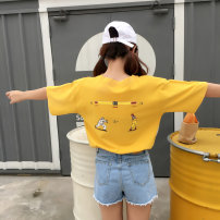 T-shirt White yellow M L XL 2XL Summer 2017 Short sleeve Crew neck easy Regular routine street cotton 31% (inclusive) - 50% (inclusive) Funny Cartoon letters Other / other printing hippie